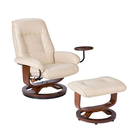 side by side recliners bonded leather swivel recliner with attached side table