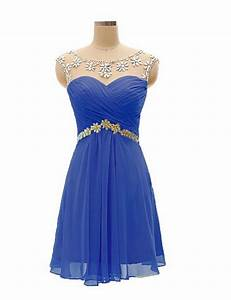 Short Knee Length Chiffon Bridesmaid Dress, Cobalt Blue ...