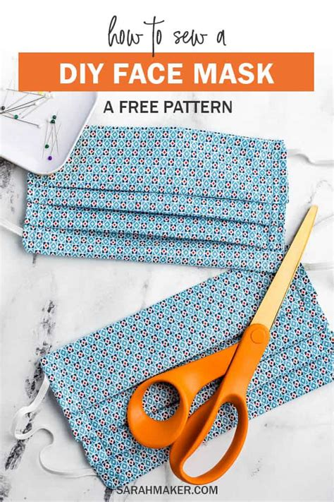 sew  diy fabric face mask  printable pattern