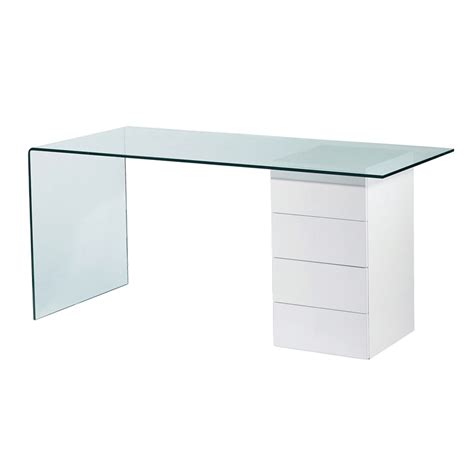 glass computer desks refract glass desk with drawers dwell