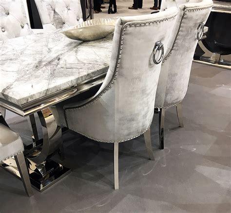 arianna grey marble table   chairs  chrome legs