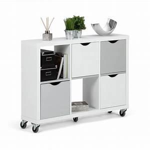 étagère à Roulettes : etag re 6 cases blanc et gris avec tiroirs roulettes ~ Teatrodelosmanantiales.com Idées de Décoration