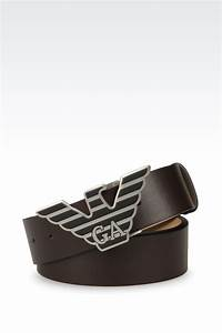 Emporio Armani Leather Belt with Eagle Buckle in Brown for ...