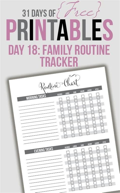 family routine tracker printable day   day