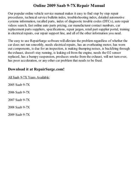 free online car repair manuals download 1993 cadillac fleetwood auto manual 2009 saab 9 7 x repair manual online