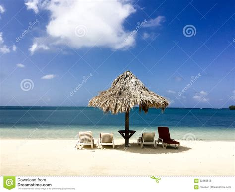 Tiki Hut On Beautiful Caribbean Beach Off The Coast Of