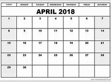 Free Printable Calendar April 2018 Free Printables 2018