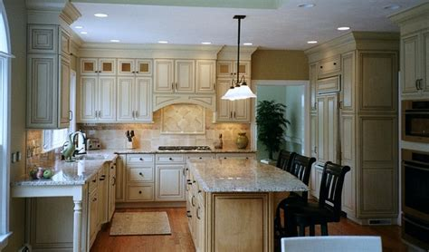 almond glazed door stacked wall cabinets arched hearth