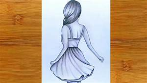 How To Draw A Girl With Back Side Pencil Sketch Tutorial