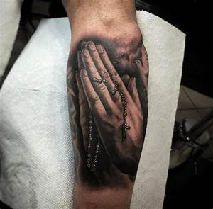 Rosary Cross In Hands Catholic Tattoo On Man Side Rib