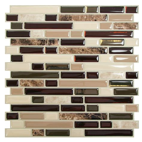 smart tiles mosaik bellagio keystone 10 6 quot x 10 quot peel stick wall tile in brown beige