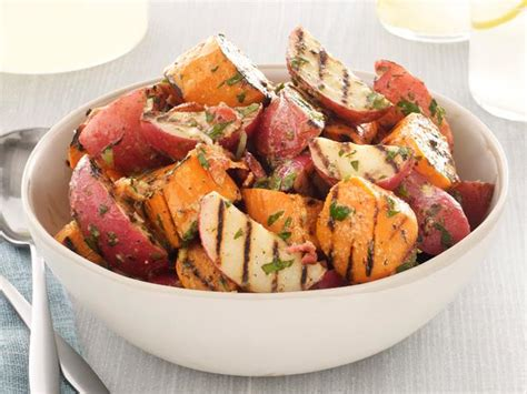 grilled potato salad with bacon grilled potato salad with bacon scallion vinaigrette recipe melissa d arabian food network