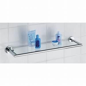Etagere Sans Vis : etag re murale de salle de bain 58x15 cm verre clair ~ Premium-room.com Idées de Décoration