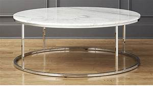 Smart large round marble top coffee table cb2 for Large circular coffee table