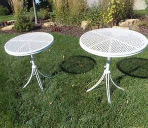 vintage telescoping patio table homecrest round metal mesh top