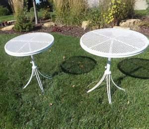 vintage telescoping patio table homecrest round metal mesh top