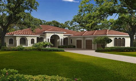 New One Story House Plans by Single Story Mediterranean House Plans One Story