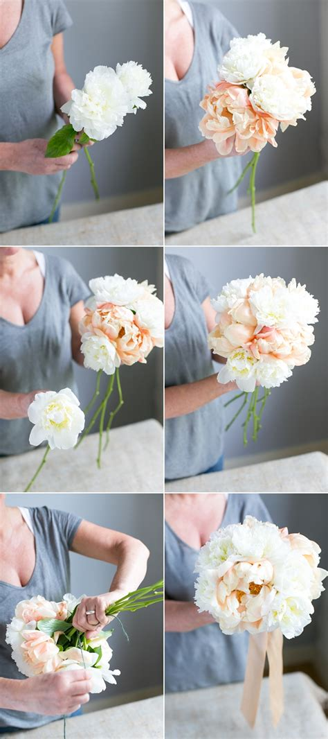 create   handtied peony wedding bouquet