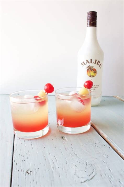 Fill a shaker with ice cubes. Malibu Sunset Cocktail Mixed Drink Recipe - Homemade Food ...