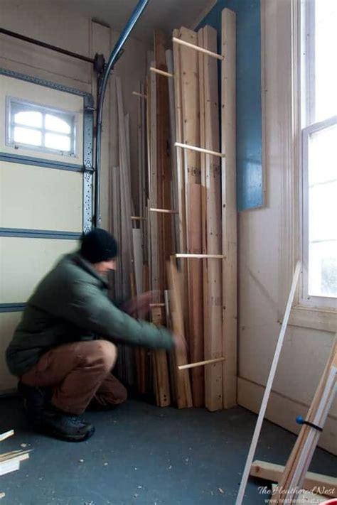 easy diy wood rack  storing lumber  heathered nest