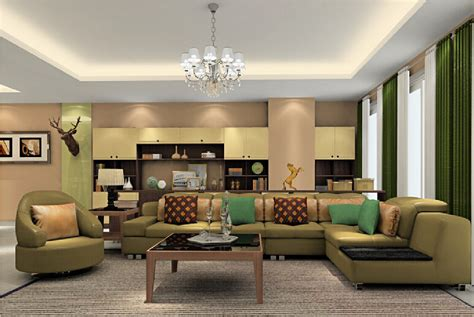 living room layout and decor with green sofa best color