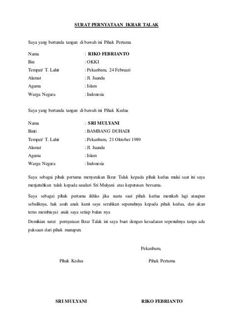contoh surat pernyataan ikrar talak usa momo