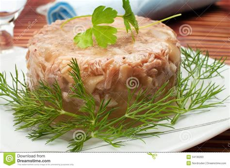 aspic cuisine traditional food aspic jelly stock image