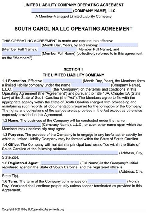 south carolina multi member llc operating agreement