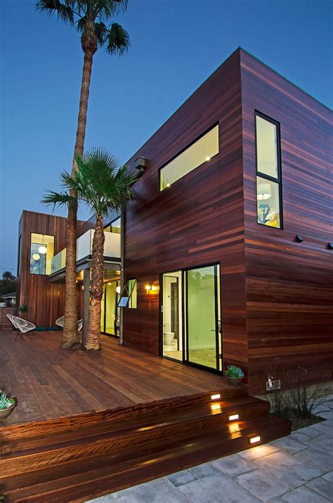 modern wood siding exterior midcentury  clean deck
