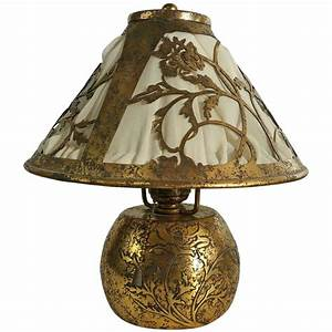 classic arts and crafts boudoir lamp silver over bronze With metal boudoir floor lamp