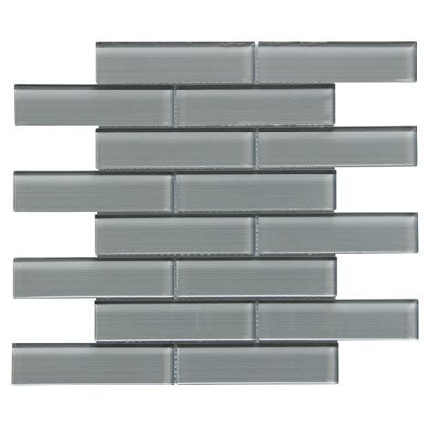linear glass and mosaic tile shop bestview grey linen polished linear mosaic glass wall tile common 12 in x 13 in actual