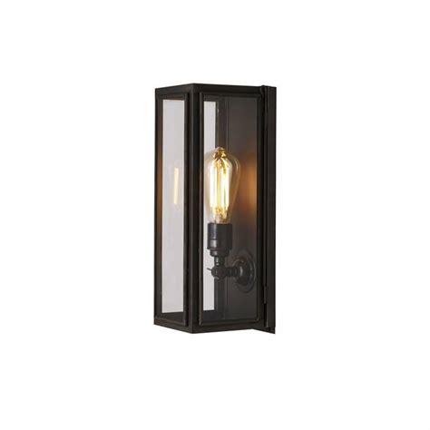 narrow box wall light ext glass weathered brass clear