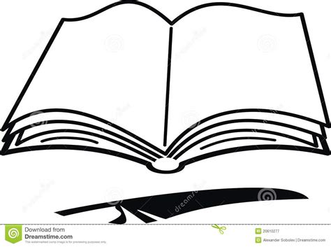 Cartoon Book And Feather Stock Vector. Illustration Of