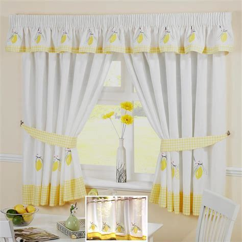 YELLOW LEMON VOILE CAFE NET CURTAIN PANEL KITCHEN CURTAINS