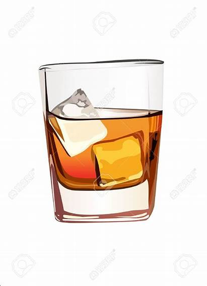 Whiskey Glass Whisky Clipart Scotch Ice Vector