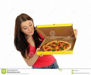 Pretty Young Casual Girl With Tasty Pizza Stock Image ...