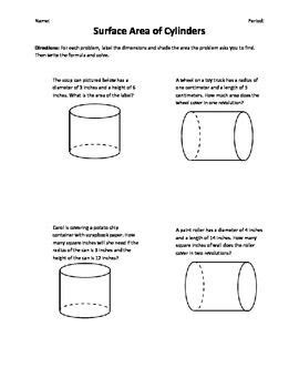 4 question worksheet on finding surface area of cylinders