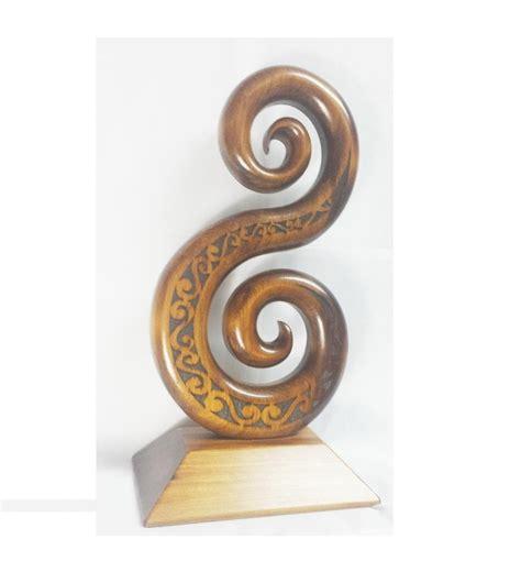 Carved Kauri Double Koru on Base | Giftware & Engravers