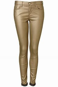 Gold Metallic Jeans Women