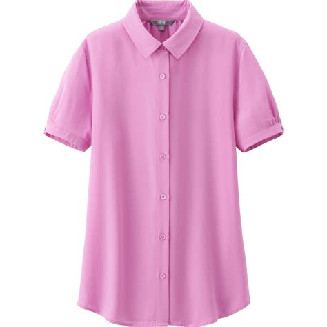 pink blouses uniqlo rayon sleeve blouse in pink lyst