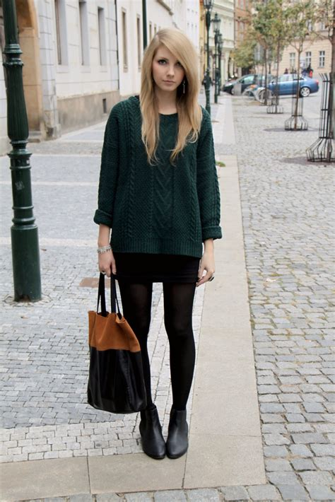 Pavlina J. - Pull u0026 Bear Dark Green Sweater Asos Ankle Boots Hu0026M Bag - Dark green | LOOKBOOK