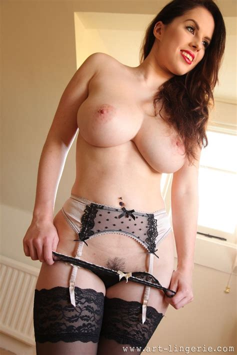 Busty Uk Brunette Jo Paul In Black Stockings And Suspenders