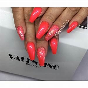 Orange Coffin Nails Nail Art Gallery