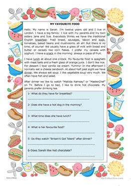 esl lunch worksheets