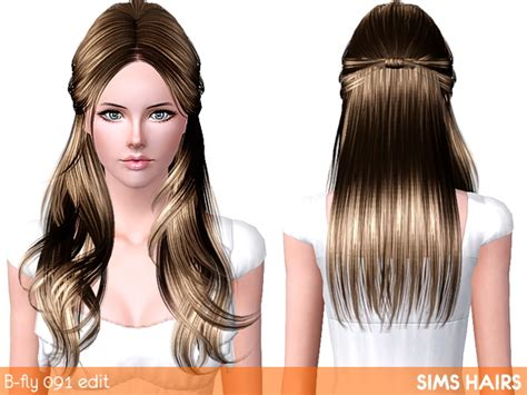 Butterfly's Hairstyle Af 091 Light Retextured By Sims Hairs