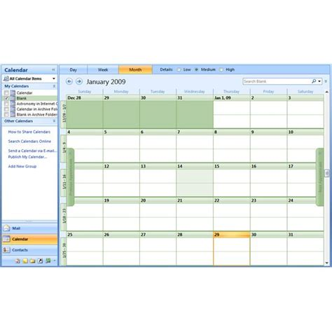 Blank Calendar Outlook