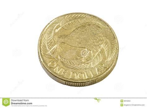 One Dollar New Zealand Kiwi Coin Stock Photo