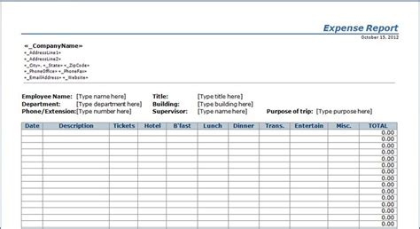 expense report template  thingspatterns templates