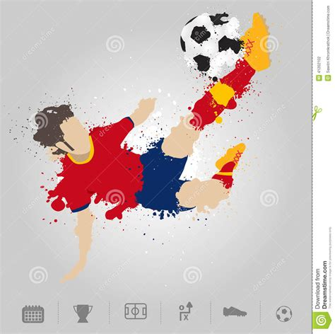 soccer player kicks  ball  paint splatter design