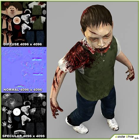 Little Boy Zombie 3d Model Game Ready Animated Rigged Fbx